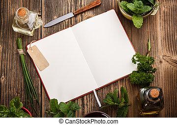 Un libro de cocina en blanco