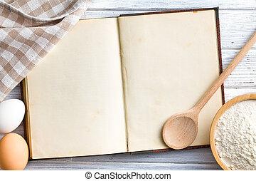 Un libro de recetas en blanco