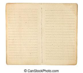 Un libro de texto abierto a páginas en blanco