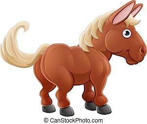 Un lindo animal de granja de caballos
