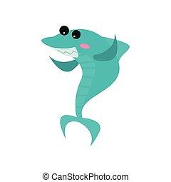 Un lindo dibujo animado de tiburón alegre, divertido vector azul de ilustración de peces azules