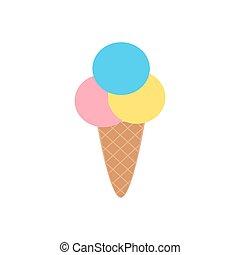Un lindo helado de dibujos animados aislado en fondo blanco