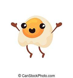 Un lindo huevo frito con cara sonriente, divertida y rápida caricatura de caricatura vector de caracteres de caracteres ilustrados en un fondo blanco