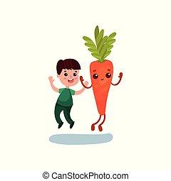 Un lindo niñito saltando con un feliz personaje de zanahoria gigante, mejores amigos, comida saludable para niños vector de Ilustración