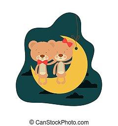 Un lindo par de osos sentados en la luna