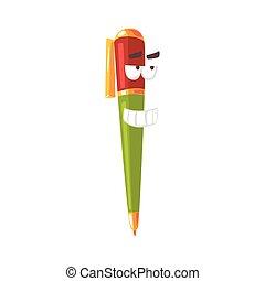 Un lindo personaje cómico de dibujos animados, una pluma colorida humanizada con vectores graciosos de ilustración