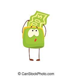 Un lindo personaje de bolso con una divertida ilustración de caricaturas de cartón humanoide