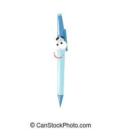 Un lindo personaje de cómic de plumas de pluma azul, bolígrafo humanizado con vectores graciosos de ilustración