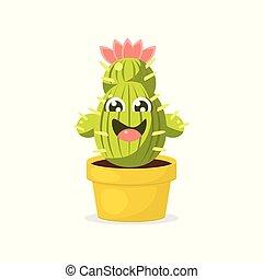 Un lindo personaje de cactus de dibujos animados con una divertida ilustración de vectores