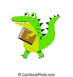 Un lindo personaje de cocodrilo de dibujos animados que camina con ilustración de vectores de libro