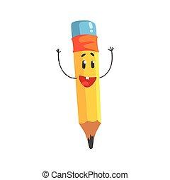 Un lindo personaje de dibujos animados amarillos con las manos en alto, un gracioso vector de Ilustración de lápiz humanoide