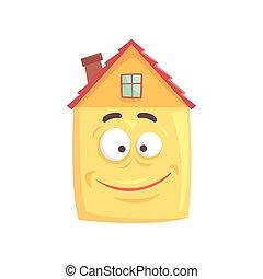 Un lindo personaje de dibujos animados con cara feliz sonriente, ilustración graciosa del vector emoticono