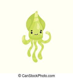 Un lindo personaje de dibujos animados de pulpo sonriente, divertido vector de inducción animal bajo el agua