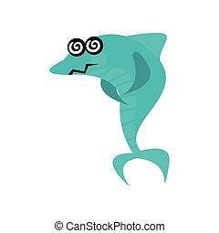 Un lindo personaje de dibujos de tiburones mareado con ojos rotativos, divertido vector azul vector de ilustración