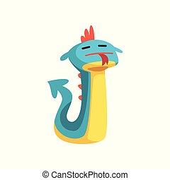Un lindo personaje de dragón de dibujos animados con un gracioso vector de ilustración en un fondo blanco