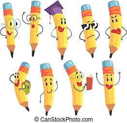 Un lindo personaje de lápiz humano con brazos y ilustraciones emoji