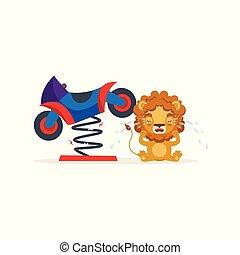 Un lindo personaje de león llorando por la ilustración del vector de motocicleta roto
