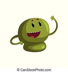 Un lindo personaje de monstruo verde de dibujos animados con un gracioso vector de ilustración en un fondo blanco