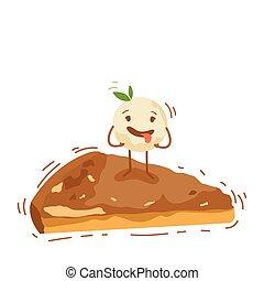 Un lindo personaje de pastel de helados aislado en la ilustración de la bandera blanca de vectores de logo
