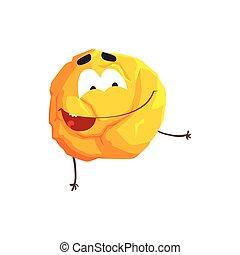 Un lindo personaje de planeta amarillo humanizado, esfera con cara graciosa vector de ilustración vectorial