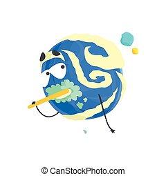 Un lindo personaje de planeta azul humanizado cepillándose los dientes, una esfera con divertida caricatura vector de ilustración