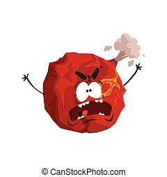 Un lindo personaje de planeta Marte, una esfera roja con una divertida caricatura vector de ilustración