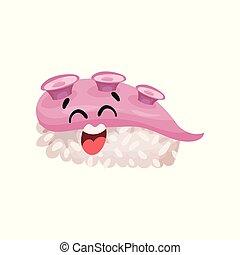 Un lindo personaje de sushi con cara graciosa, caricatura japonesa vector de ilustración vectorial