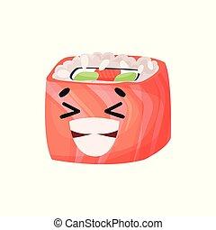Un lindo personaje de sushi sonriente con salmón, con caricatura graciosa vector de ilustración vectorial