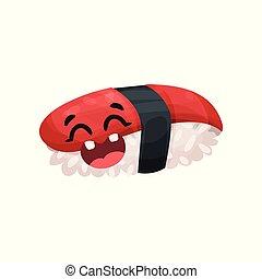 Un lindo personaje de sushi Unagi con cara graciosa, vector de Ilustración de comida japonesa