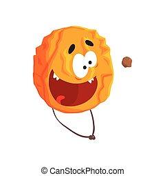 Un lindo personaje de Venus humano, esfera naranja con caricatura graciosa vector de ilustración
