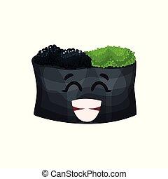 Un lindo personaje feliz con caviar, sushi con divertida caricatura vector de ilustración