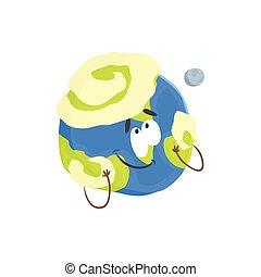 Un lindo personaje humano de planeta Tierra, una esfera con cara graciosa vector de ilustración vectorial