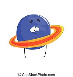 Un lindo personaje humanoide del planeta Urano, una esfera con un gracioso vector de dibujos animados de ilustración