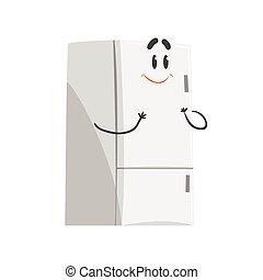 Un lindo personaje sonriente de frigorífico de dibujos animados, un divertido vector de electrodoméstico casero