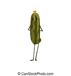 Un lindo personaje vegetal de pepino con una graciosa ilustración vectorial