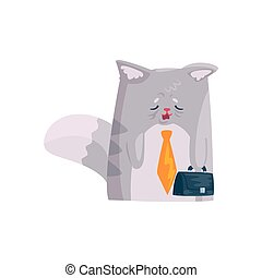 Un lindo y cansado gato de negocios con maletín, divertido personaje de animal caricatura vector de ilustración