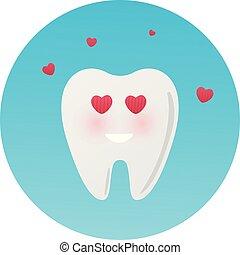 Un lindo y feliz personaje de dientes enamorado. Ilustración de vectores al estilo de dibujos animados. El diente se enamora de la mascota. Sonrisas de dientes felices en el fondo azul. Logotipo de icono