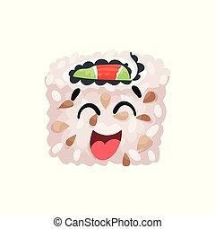 Un lindo y feliz personaje de sushi riéndose, enrollado con gracioso vector de dibujo animado Illustración