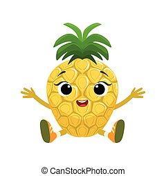 Un lindo y lindo personaje de piña sentado, pegatina emoji con fruta de bebé