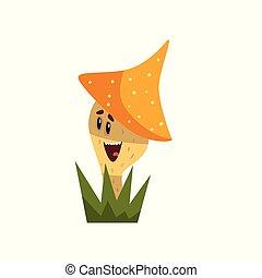 Un lindo y sonriente personaje de hongos con un gracioso vector de ilustración facial en un fondo blanco