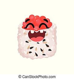 Un lindo y sonriente personaje de sushi con caviar, enrollado con gracioso vector de ilustración de dibujos animados