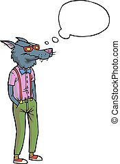 Un lobo hipster de dibujos animados