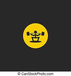 Un logotipo de levantadores de pesas, icono deportivo, silueta de atleta con un mínimo emblema para imprimir en camiseta.