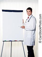 Un médico exitoso con un gráfico