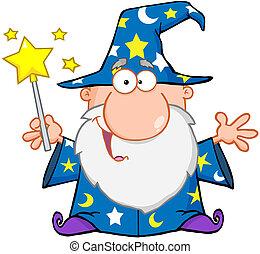 Un mago divertido saludando con varita mágica