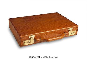 Un maletín de madera aislado