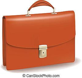Un maletín marrón de negocios.