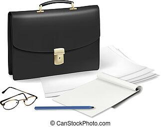 Un maletín y un cuaderno