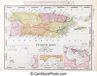 Un mapa anticuario de colores de Puerto Rico