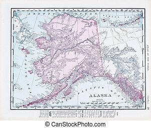 Un mapa antiguo de Alaska, Estados Unidos
